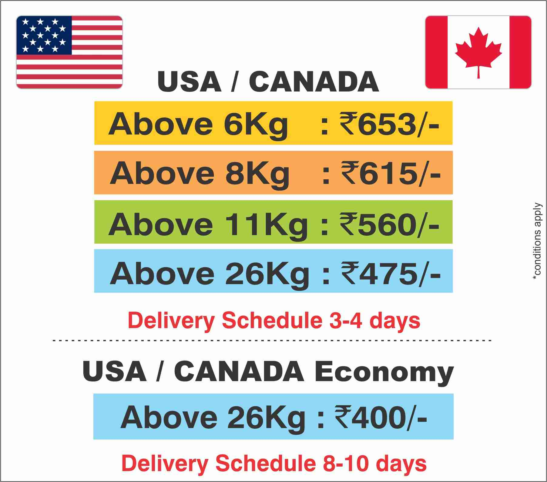 usa canada courier price